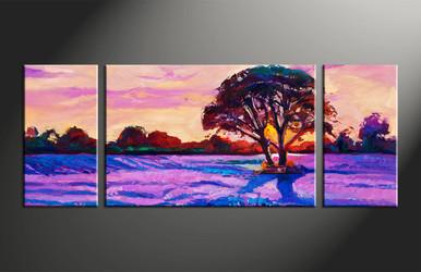 home decor, 3 piece large pictures, scenery artwork, oil large canvas, landscape large canvas