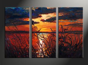 home decor, 3 piece photo canvas, oil paintings artwork, sunset large canvas, ocean wall decor