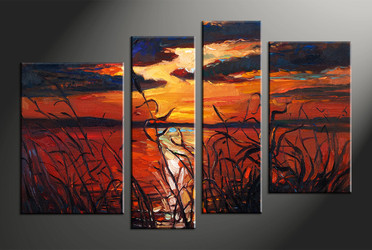 home decor, 4 piece pictures, ocean multi panel art, scenery large canvas, sunset art