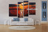living room art, 4 piece canvas wall art, ocean decor, scenery pictures, sunset group canvas