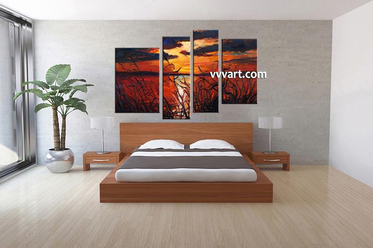 bedroom decor, 4 Piece Wall Art, ocean huge pictures, scenery multi panel art, sunset canvas wall art