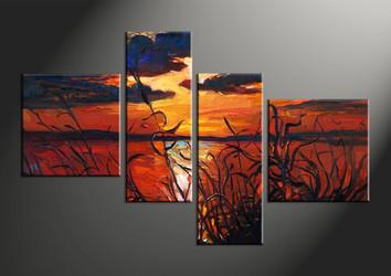 home decor, 4 piece pictures, sunset multi panel art, ocean large canvas, scenery art