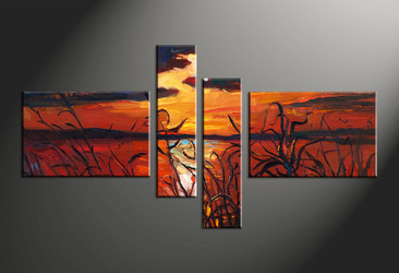 home decor, 4 piece pictures, scenery multi panel art, sunset large canvas, ocean art