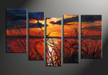 home decor, 5 piece huge pictures, sunset canvas print, scenery canvas photography, ocean art