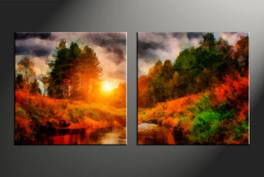 home decor, 2 piece canvas arts, scenery canvas arts, oil huge canvas art, trees canvas wall art
