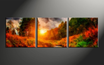 home decor, 3 piece canvas arts, scenery canvas arts, oil huge canvas art, trees canvas wall art