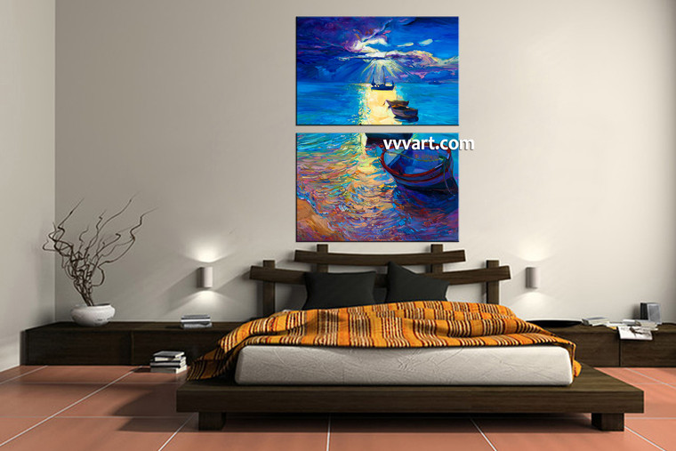 bedroom decor, 2 Piece Wall Art, ship wall art, sunrise wall decor, ocean huge pictures