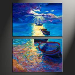 home decor, 2 piece artwork, ship canvas photography, sunrise huge canvas art, ocean canvas wall art
