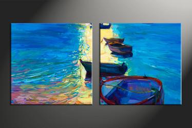 home decor, 2 piece artwork, sunrise canvas photography, ocean huge canvas art, ship canvas wall art
