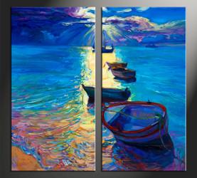 home decor, 2 piece artwork, ocean canvas photography, ship huge canvas art, sunrise canvas wall art