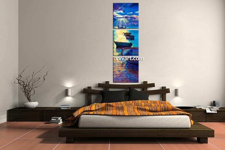 bedroom decor, 3 Piece Wall Art, ship canvas art prints, scenery multi panel art, ocean canvas photography