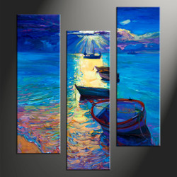 home decor, 3 piece photo canvas, scenery artwork, ocean large canvas, ship wall decor