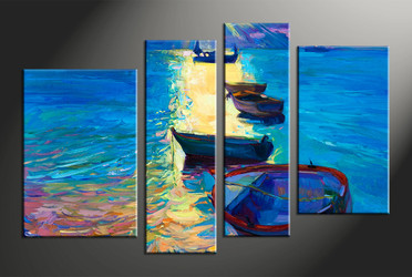home decor, 4 piece pictures, ocean multi panel art, ship large canvas, sunrise art