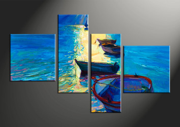 home decor, 4 piece pictures, sunrise multi panel art, ocean large canvas, ship art