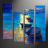 home decor, 4 piece pictures, ship multi panel art, sunrise large canvas, ocean art