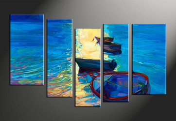 home decor, 5 piece huge pictures, sunrise canvas print, ocean canvas photography, ship art