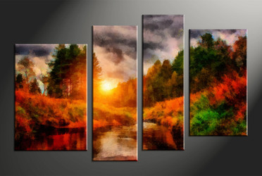home decor, 4 piece canvas arts, scenery canvas arts, oil huge canvas art, trees group canvas
