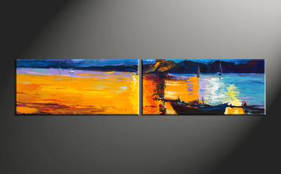 home decor, 2 piece artwork, ocean photo canvas, mountain huge canvas art, boat canvas wall art
