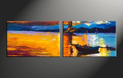 home decor, 2 piece artwork, boat photo canvas, ocean huge canvas art, mountain canvas wall art