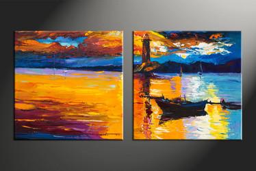 home decor, 2 piece artwork, mountain photo canvas, boat huge canvas art, ocean canvas wall art