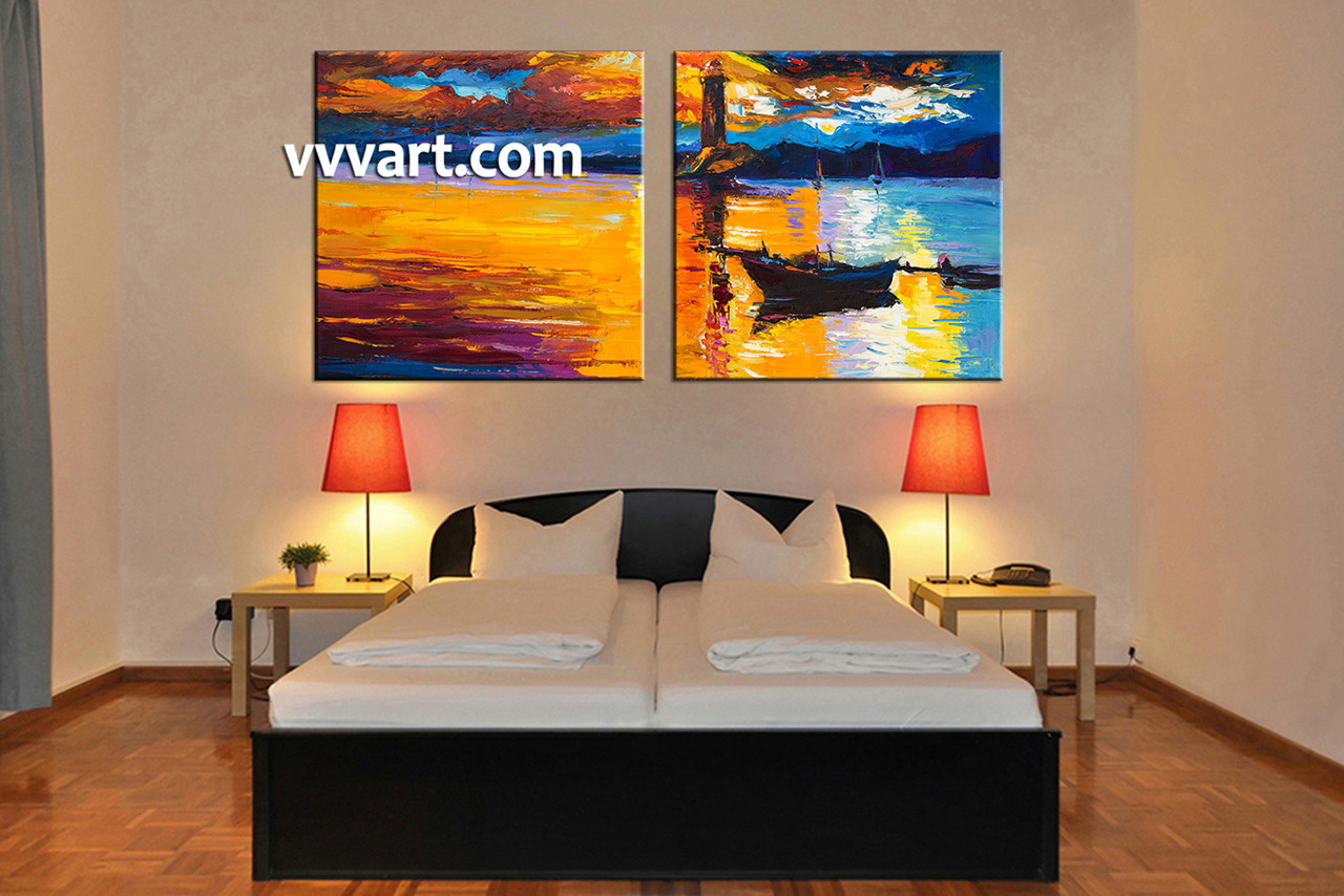 2 Piece Mountain Boat Ocean Orange Large Pictures