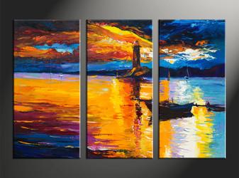 home decor, 3 piece multi panel art, scenery artwork, landscape large canvas, ocean wall decor