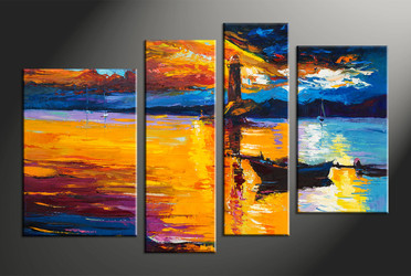 home decor, 4 piece wall art, ocean multi panel art, scenery large canvas, boat art