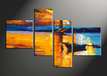 home decor, 4 piece wall art, boat multi panel art, ocean large canvas, scenery art