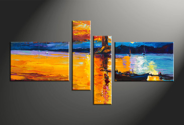 home decor, 4 piece wall art, scenery multi panel art, boat large canvas, ocean art