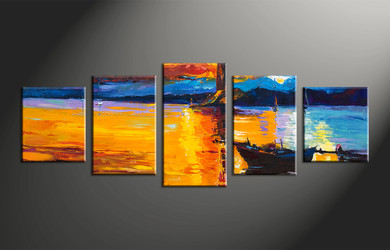 home decor, 5 piece canvas art prints, ocean canvas print, mountain canvas photography, landscape art