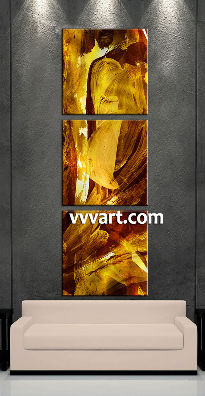 3 Home Decor Trends For Spring Brittany Stager: 3 Piece Canvas Oil Paintings Yellow Abstract Wall Decor