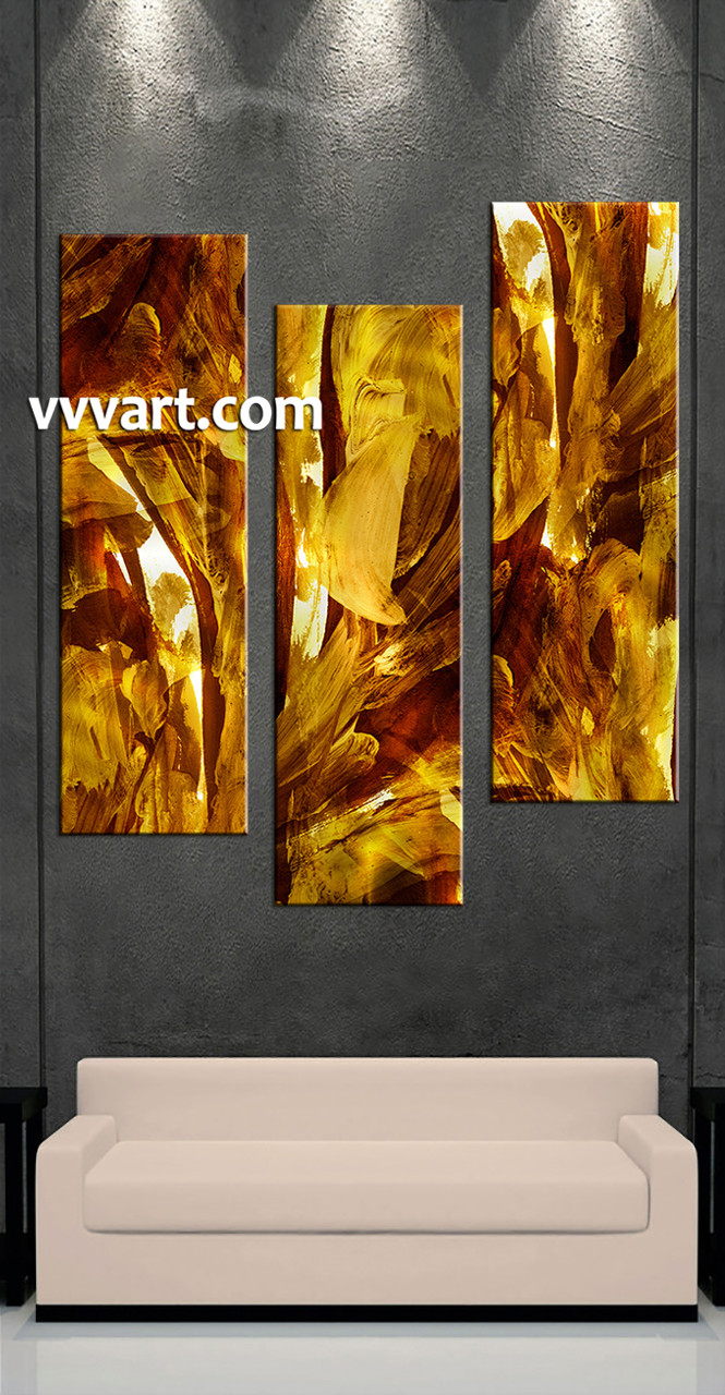 Brown 3 Piece Oil Paintings Yellow Abstract Canvas Wall Art Abstract Painting