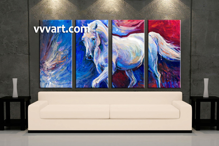 living room art, 4 piece canvas wall art, horse decor, wildlife artwork, animal multi panel canvas