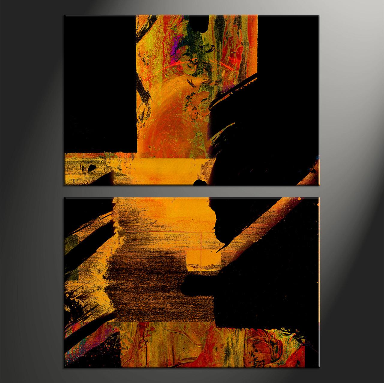 2 Piece Orange Brown Vertical Canvas Abstract Black Artwork Oil Paintings