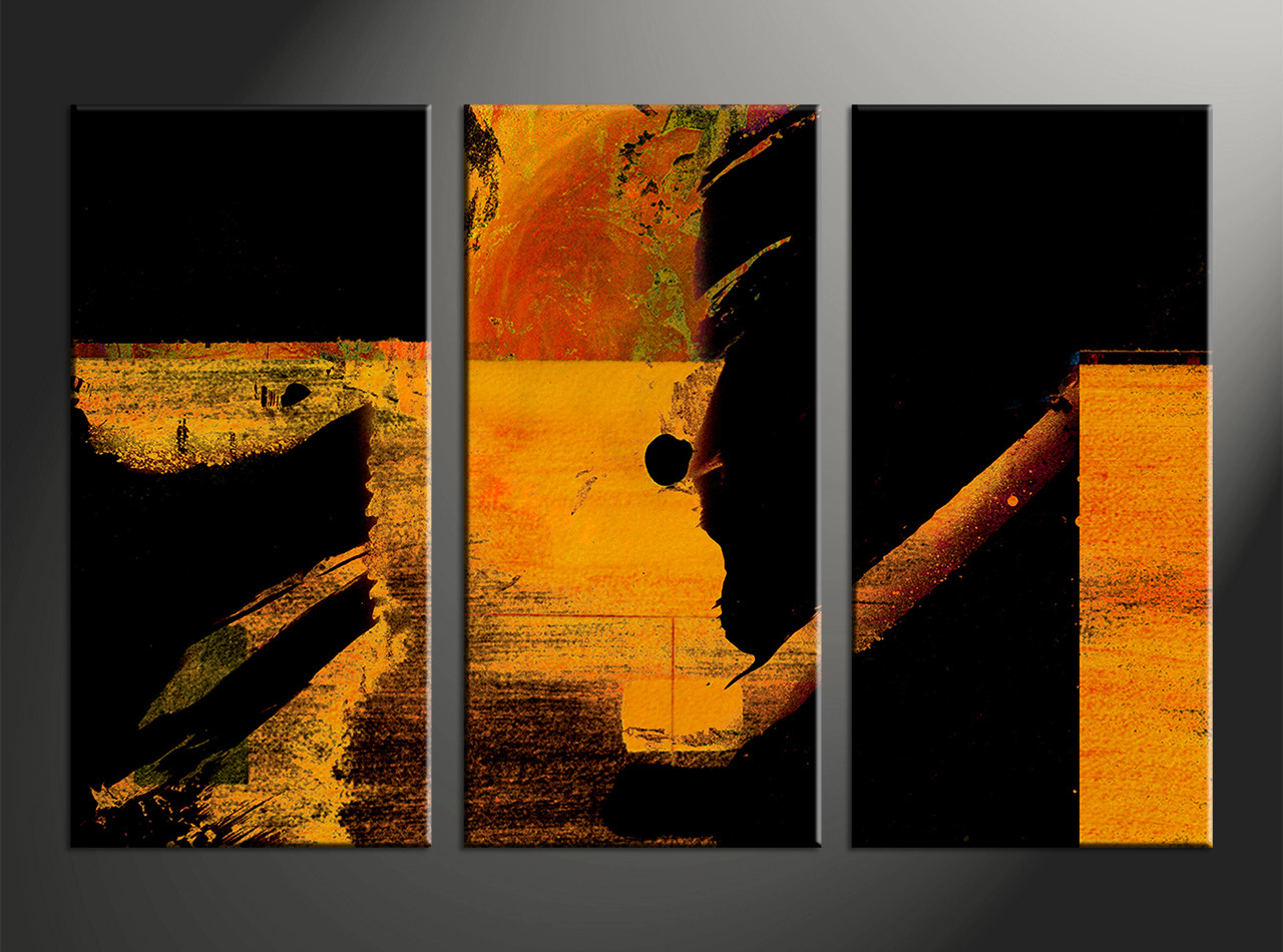 Brown Triptych Art Abstract 3 Piece Oil Painting Orange Abstract Black Group Canvas
