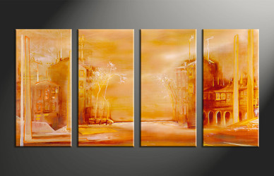 home decor, 4 piece wall art, stairs multi panel art, scenery large canvas, city art