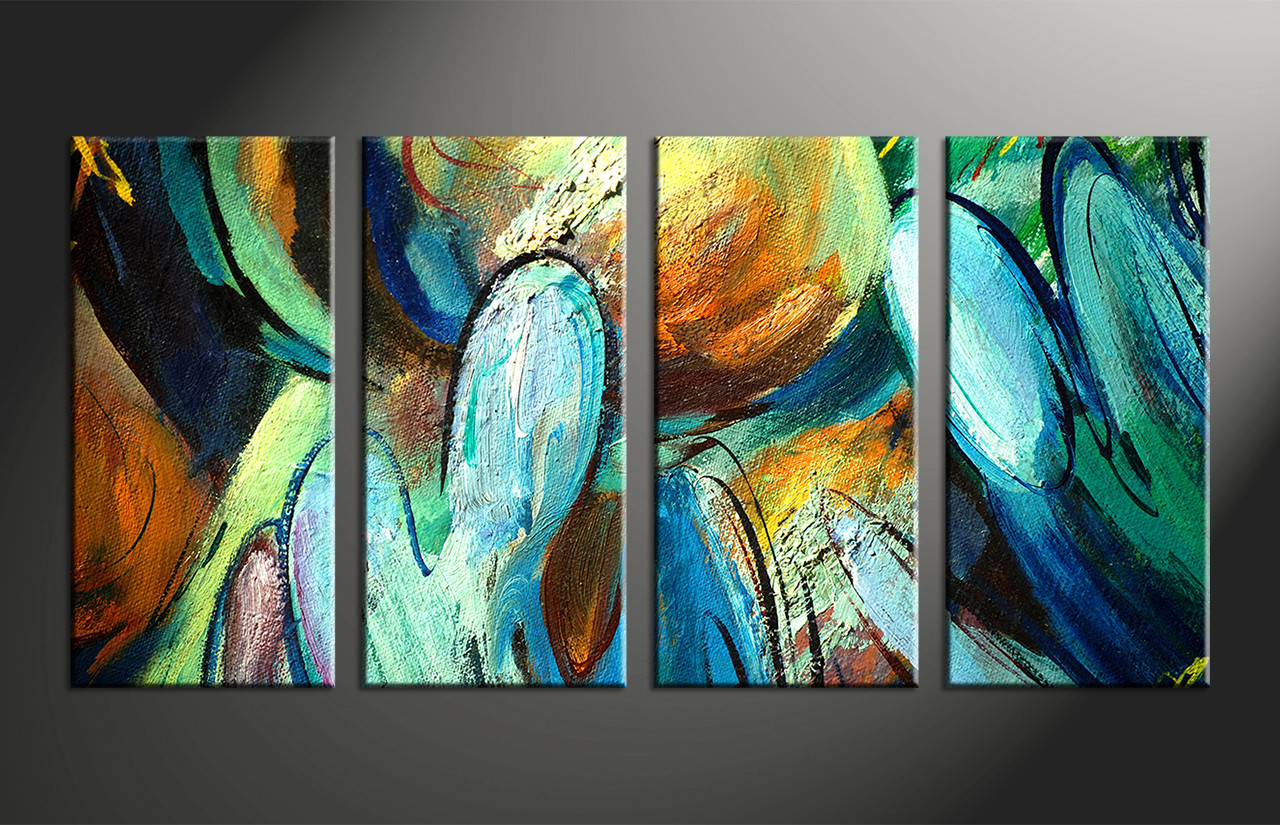4 Piece Colorful Canvas Abstract Modern Oil Paintings Art,Abstract Painting