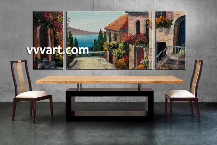 dining room art, 3 piece multi panel canvas, flowers large pictures, city multi panel canvas, city pictures