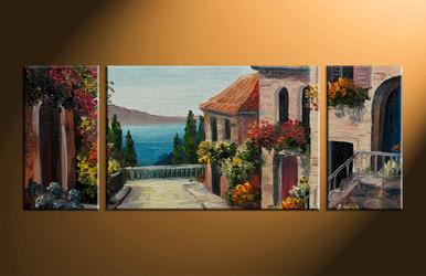 home decor, 3 piece multi panel art, flowers artwork, city large canvas, city wall decor