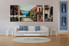 living room Art, 3 piece canvas wall art, flowers multi panel canvas, city pictures, city huge canvas art