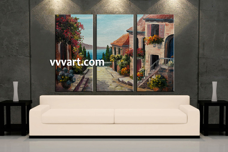 living room art, 3 piece canvas wall art, city multi panel canvas, flowers pictures, city huge canvas art