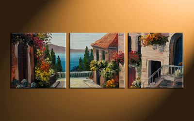 home decor, 3 piece multi panel art, city artwork, city large canvas, flowers wall decor