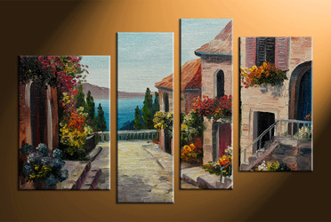 home decor, 4 piece wall art, city multi panel art, city large canvas, flowers art
