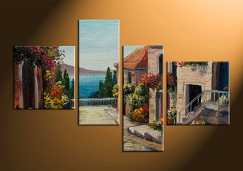 home decor, 4 piece wall art, flowers multi panel art, city large canvas, city art