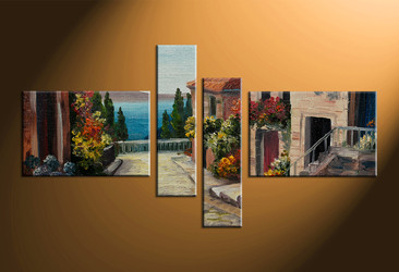 home decor, 4 piece wall art, city multi panel art, flowers large canvas, city art