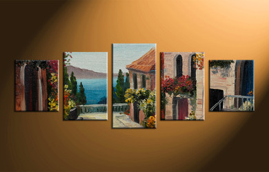 home decor, 5 piece art, city wall decor, mountain canvas photography, scenery art