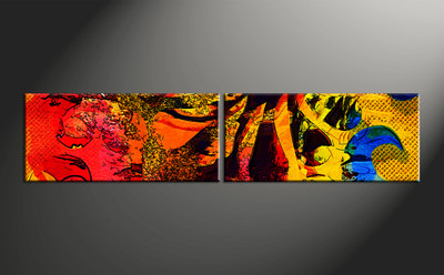 home wall decor, 2 piece canvas wall art, oil paintings multi panel art, abstract huge pictures, abstract photo canvas