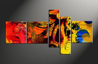 Home Decor, 5 piece canvas wall art, abstract multi panel art, abstract large canvas, abstract art