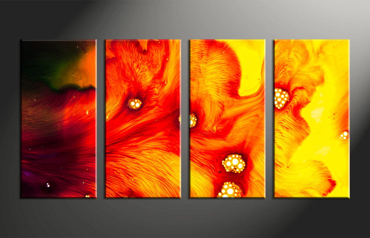 4 piece canvas red yellow abstract multi panel artsplit oil paintings