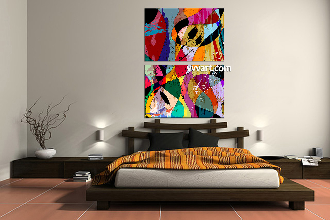 2 Piece Multicolor Home Decor Abstract Art